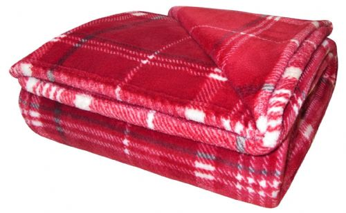 TARTAN CHECK LUXURY FLEECE SOFT WARM THICK PLUSH BLANKET RED COLOUR 130CM X 180CM